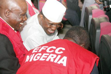 Dimeji Bankole with EFCC officials