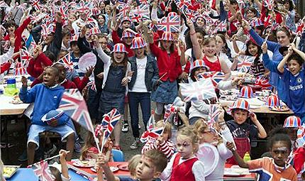 Marylebone, London, children from Hampden Gurney Primary enjoy a Jubilee street party.