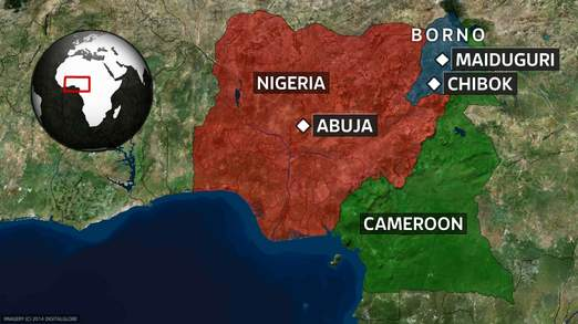 Map showing targets of Boko Haram in Nigeria