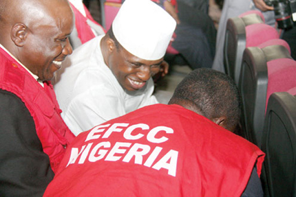Dimeji Bankole with EFCC officials